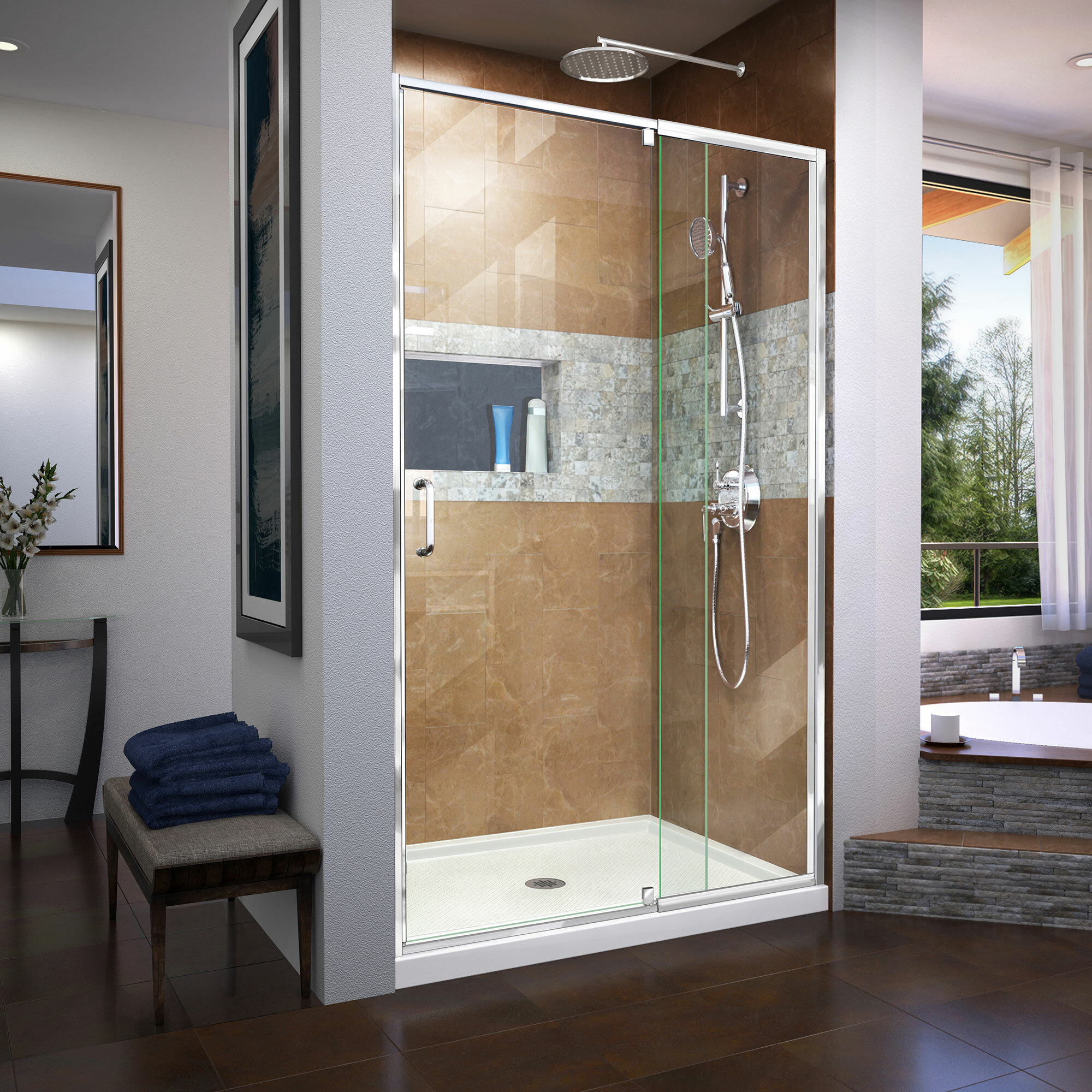 Dreamline Dreamline Flex 42 X 7475 Pivot Semi Frameless Shower