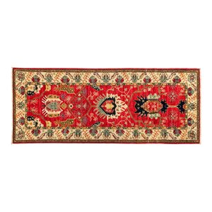 One-of-a-Kind Eclectic Vivid Hand-Knotted Red Area Rug