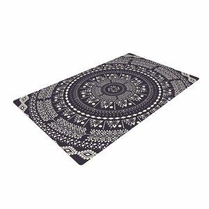 Famenxt Swadesi Boho Mandala Illustration Black Area Rug
