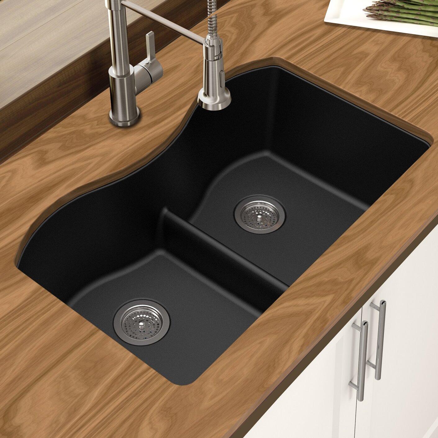 WGBL10307 Granite 33  L x 18  W Double Bowl Undermount Kitchen Sink & Winpro Granite 33