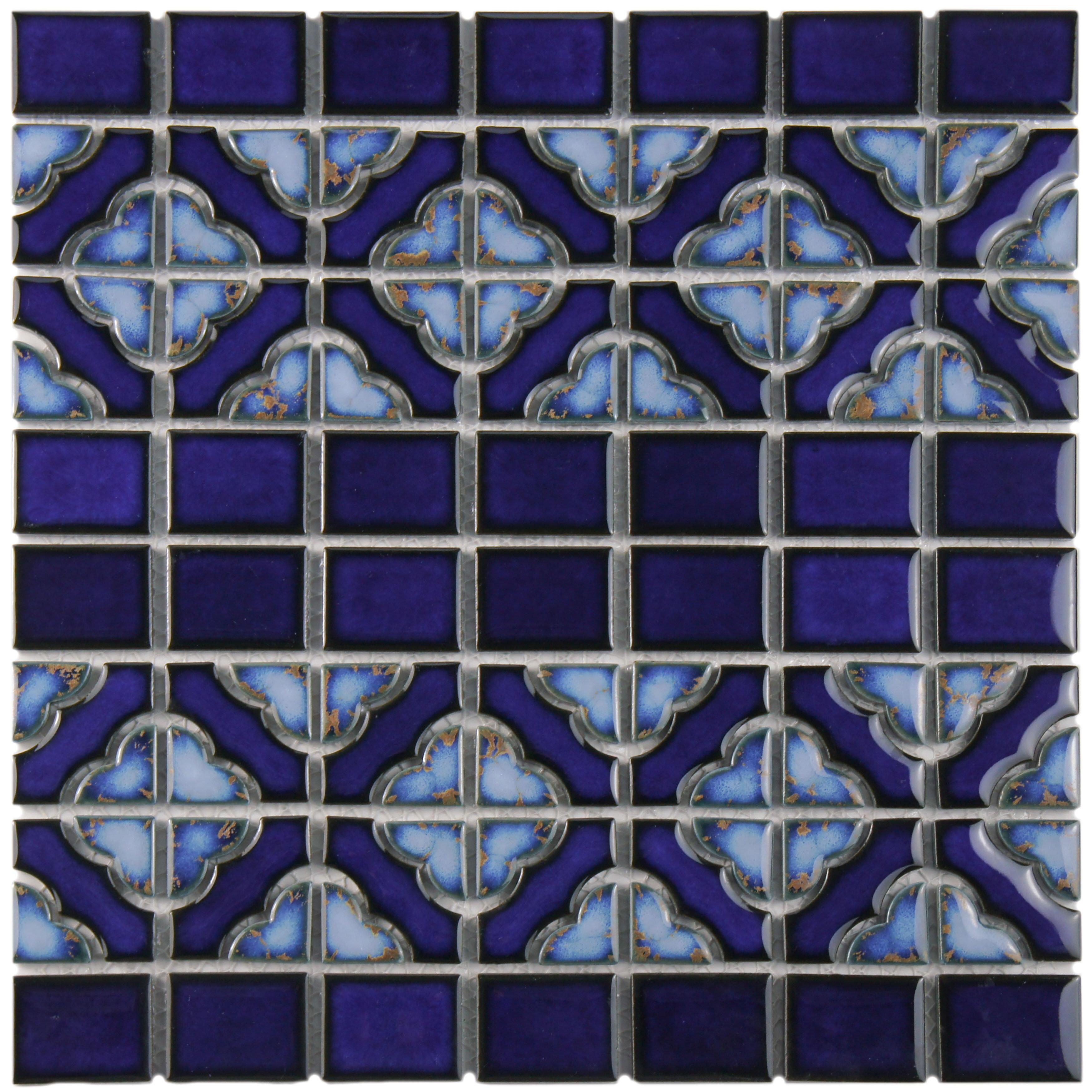 EliteTile Jericho Random Sized Porcelain Mosaic Tile in Cobalt ...