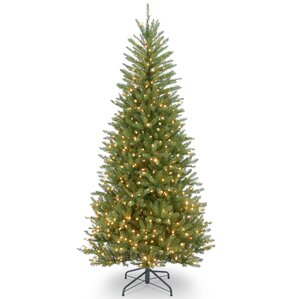 slim fir 75u0027 hinged green artificial christmas tree with 600 clear lights - Fake Christmas Trees