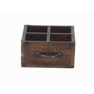 Gazaway Rustic Rectangular Wood 4 Bottle Tabletop Wine Rack