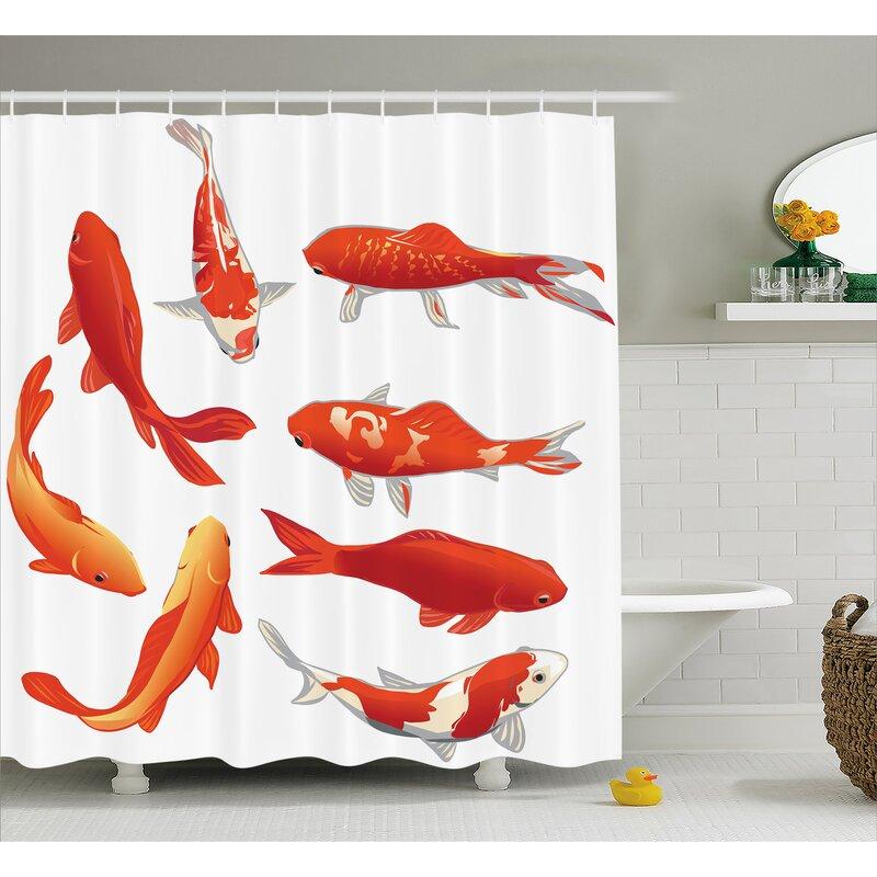 Koi Fish Decor Shower Curtain