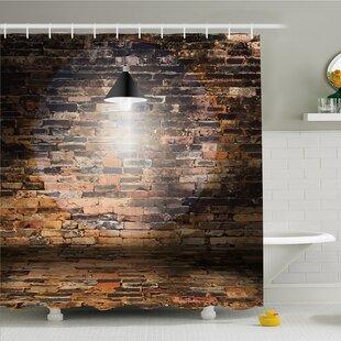 Rustic Home Dark Cracked Bricks Ceiling Lamp Spot Light Building Image Shower Curtain Set