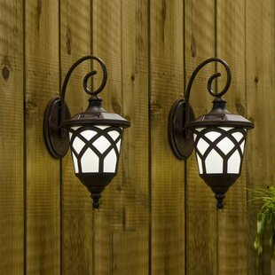 Solar 1 Light Outdoor Wall Lantern Set Of 2