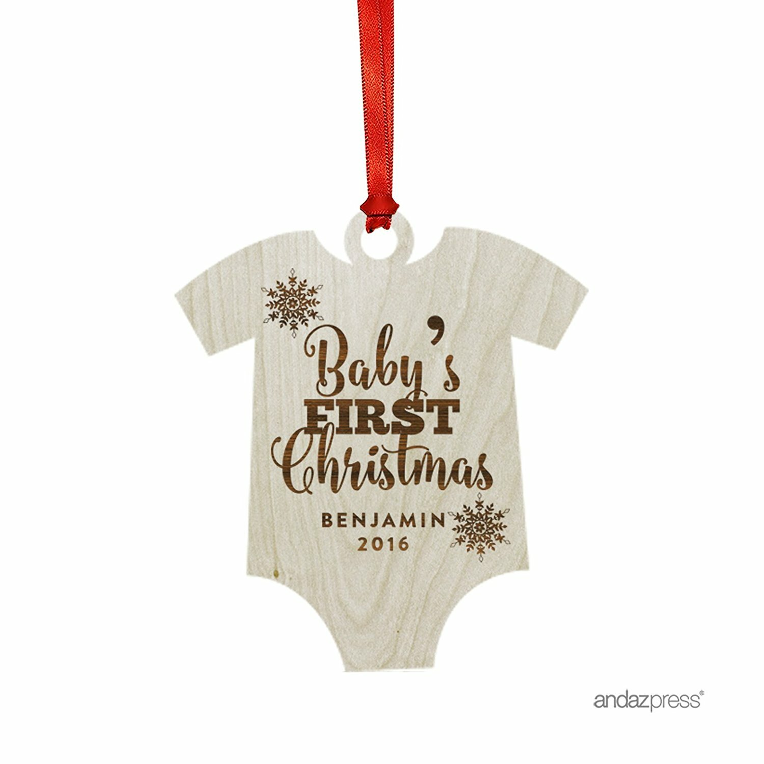 Beige/Brown Baby's First Christmas Shaped Ornament with Gift Bag