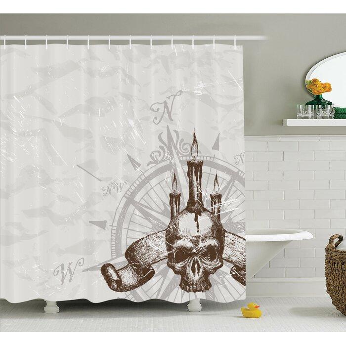 Compass Piracy Skull Shower Curtain Set