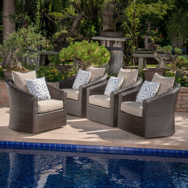 Dierdre Modern Outdoor Wicker Swivel Club Patio Chair With Cushions