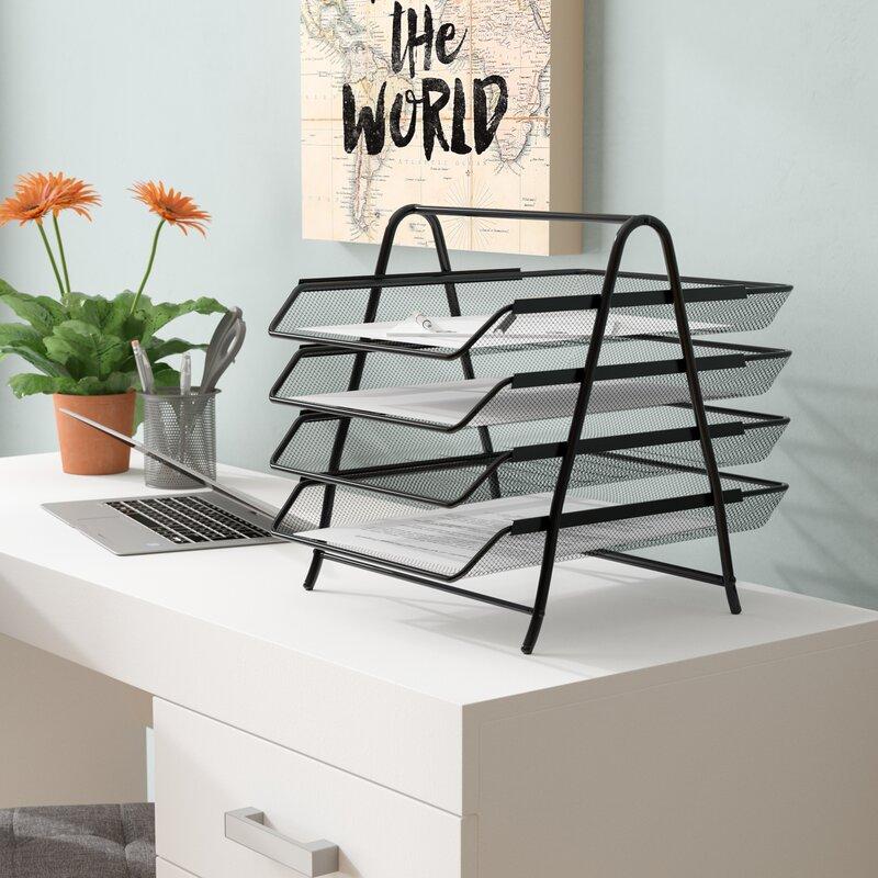 e3ffbfe8f Mind Reader 4 Tier Steel Mesh Paper Tray Desk Organizer & Reviews | Wayfair