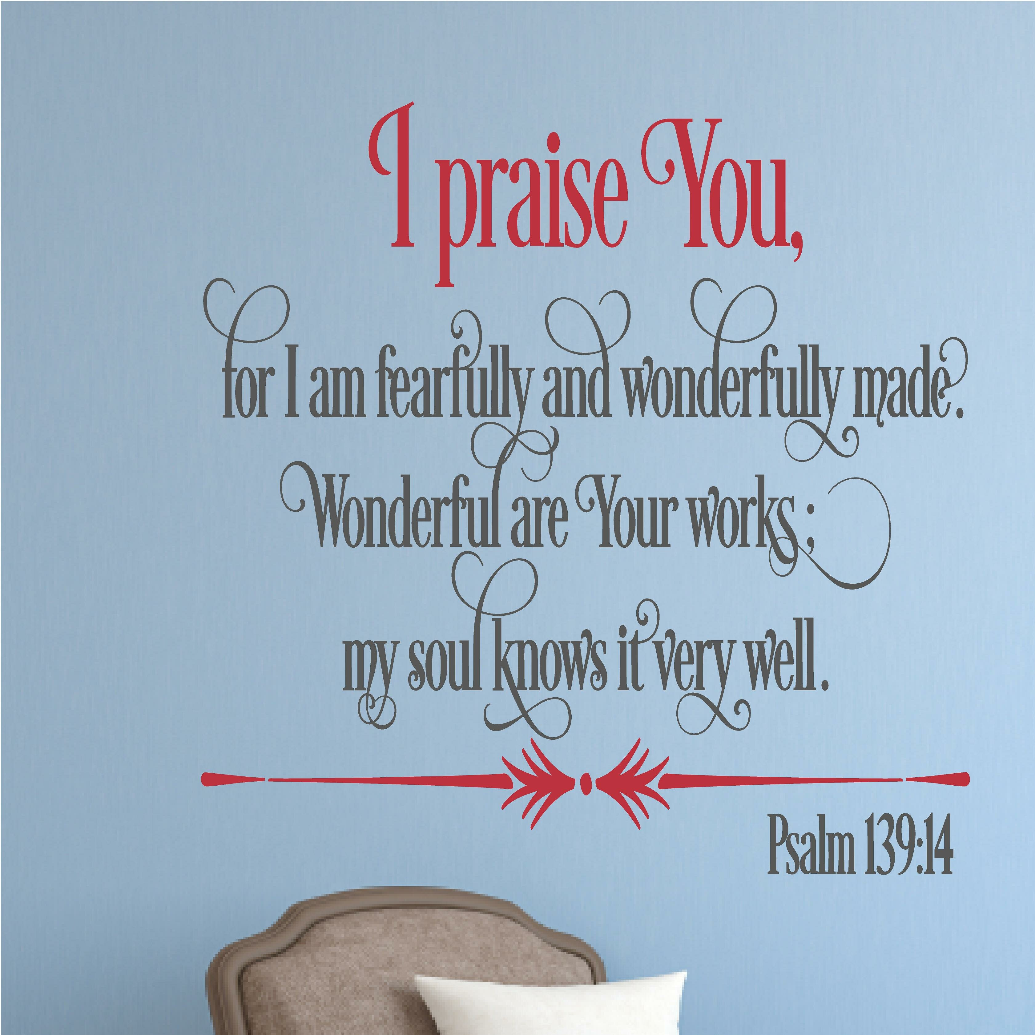Enchantingly Elegant I Praise You Religious Bible Verse Wall Decal ...