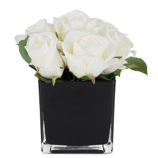 Artificial Roses Fl Arrangement In Decorative Vase