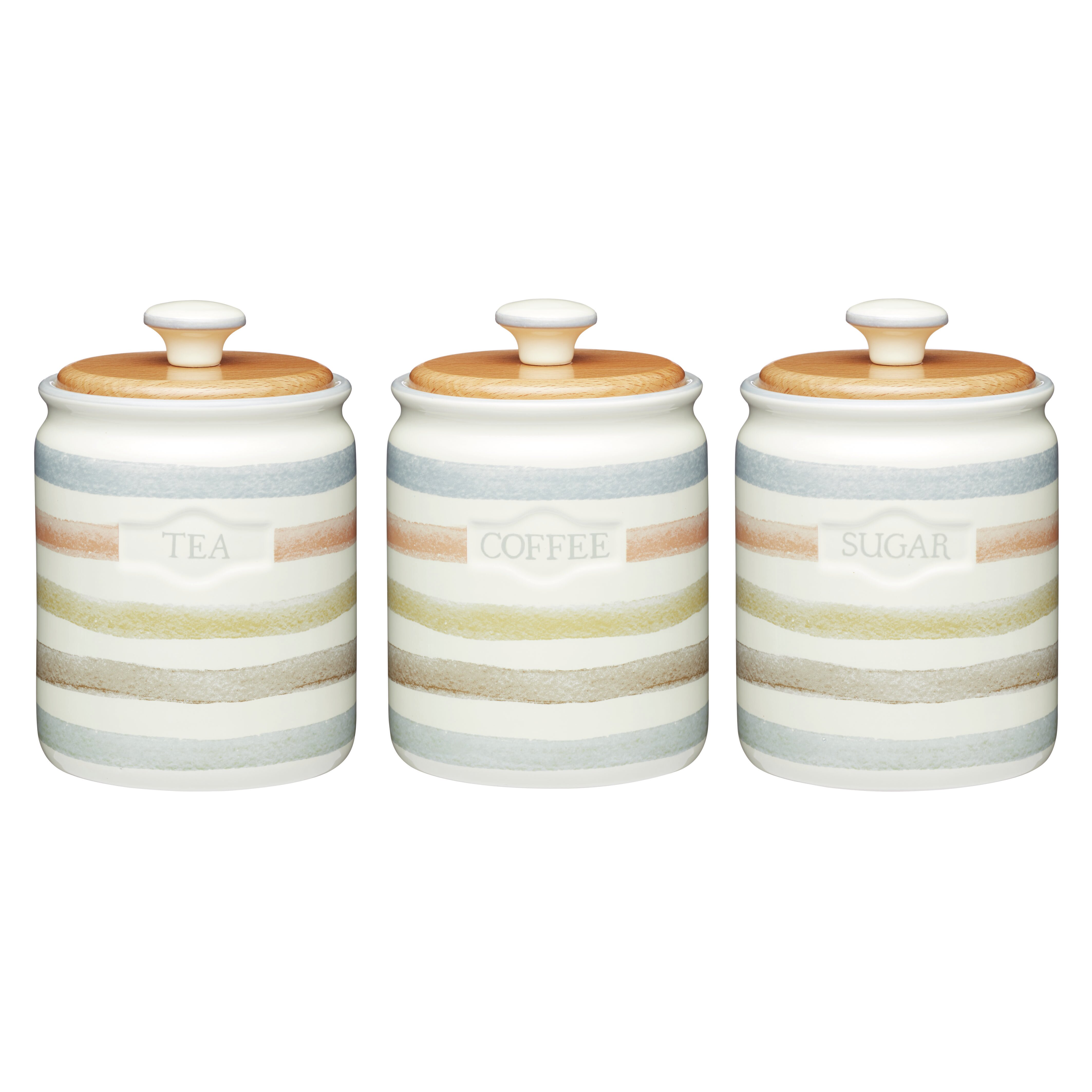 Set Of 3 Tea Coffee Sugar Kitchen Storage Canisters Jars Pots Gl Fronted Stainless