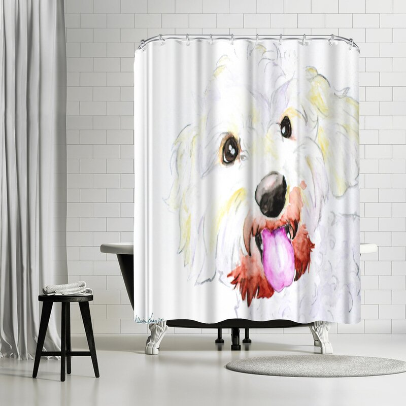 Allison Gray Miniature Poodle Mix Shower Curtain