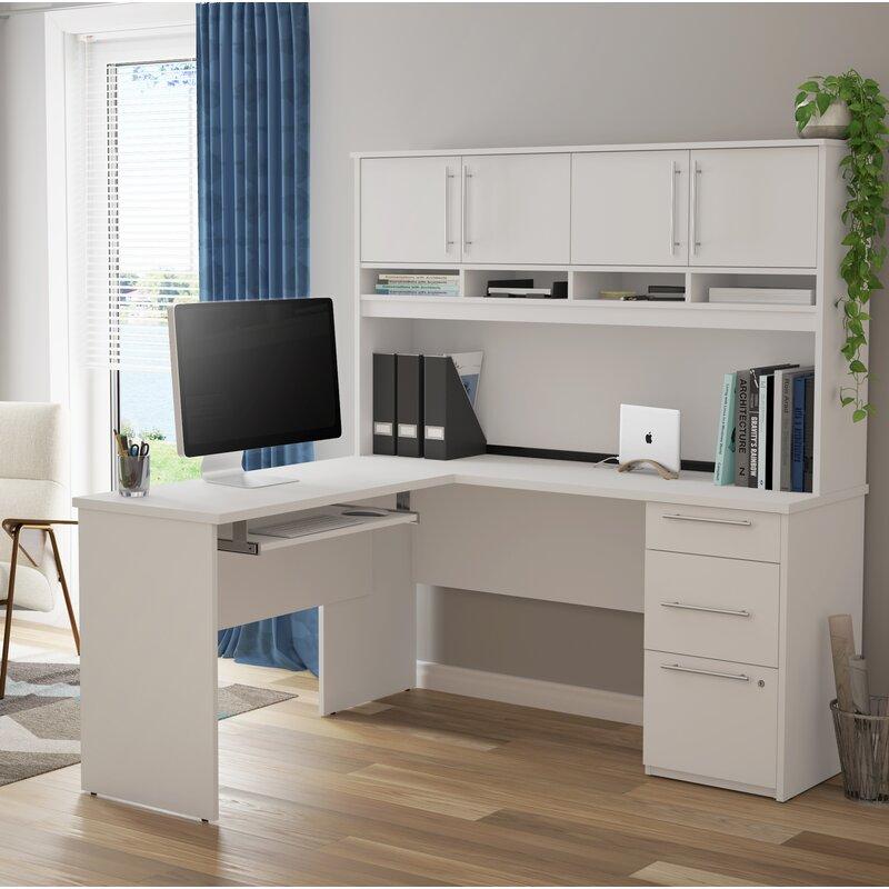 Symple Stuff Lacasse Plus L-Shaped Computer Desk with Hutch | Wayfair