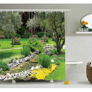Waverley Garden Japanese Park Style Recreational View With Pond Grass Stones And Trees Landscape Shower Curtain