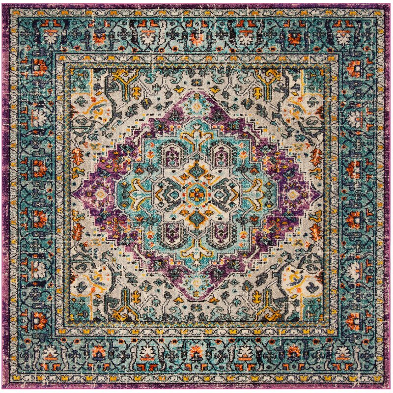 Bloomsbury Market Hackmore Violet/Light Blue Area Rug, Size: Rectangle 8 x 10