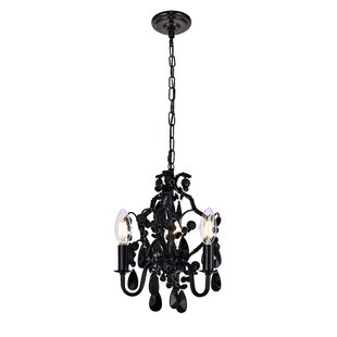 Black chandeliers youll love wayfair cadmore 3 light mini chandelier mozeypictures Image collections