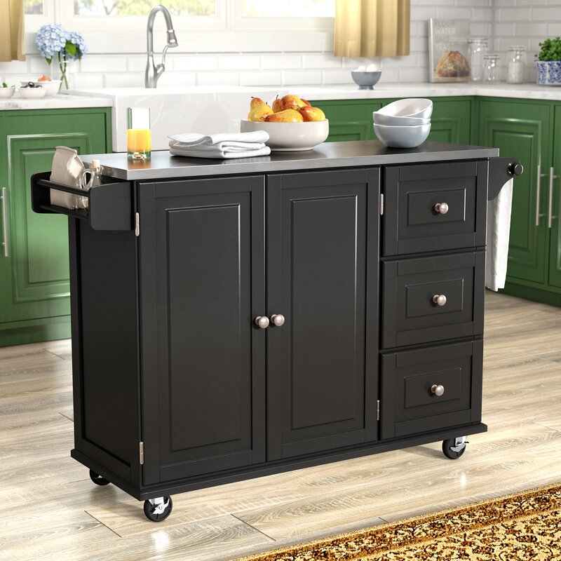 kitchen island with stainless steel top andover mills kuhnhenn kitchen island with stainless steel top reviews wayfair 5457