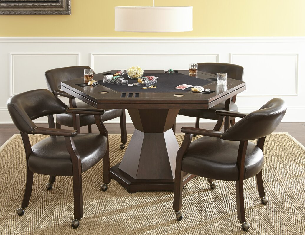 The cube medium table and 4 chairs is also available in a light finish - 60 Maguire Dining Game Poker Table Set