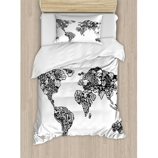 World map bedding sets wayfair modern artistic sketch style world map with floral charm purity on earth themed print duvet set gumiabroncs Images
