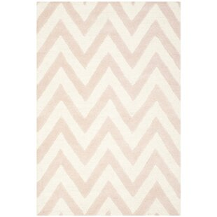 Ato Textured Hand Tufted Wool Light Pink/Ivory Rug by Longweave