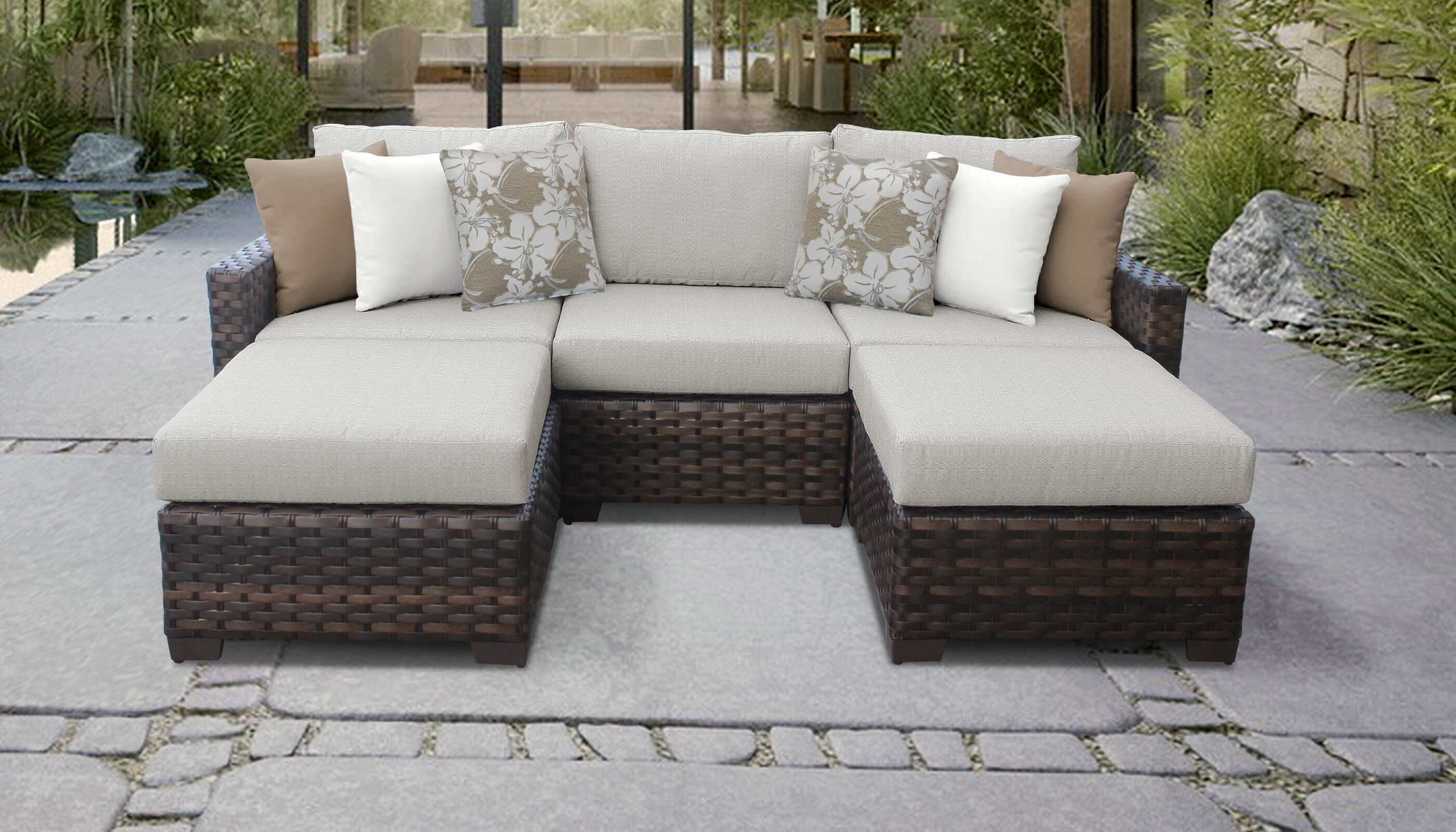Tk Clics Kathy Ireland Homes Gardens River Brook Wicker Patio Sectional With Cushions Reviews Wayfair