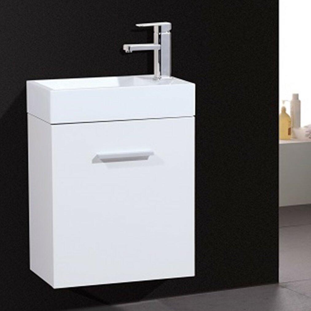 Wade logan tenafly 18 single wall mount modern bathroom - Contemporary bathroom vanity sets ...