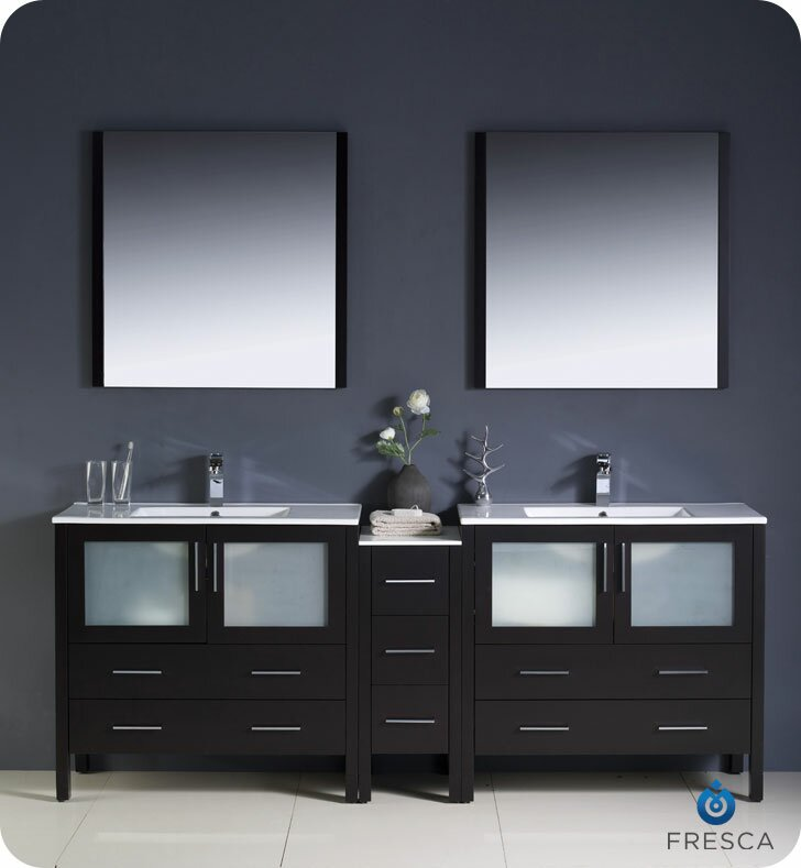 "Bathroom Vanity Hutch fresca torino 84"" double modern bathroom vanity set with mirror"