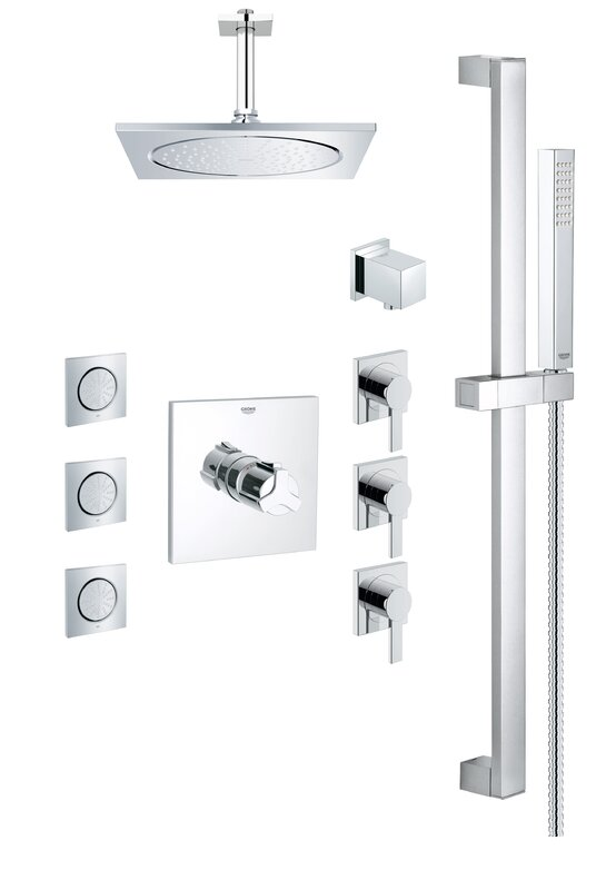 Grohe Square Rain Shower Head Complete Shower System & Reviews ...