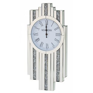 Larissa Mirrored And Crushed Diamante Crystal Art Deco Diamond Wall Clock
