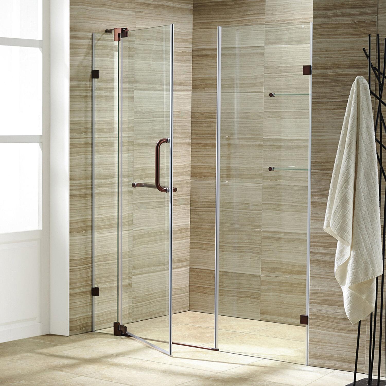 Vigo Pirouette 48 X 72 Pivot Frameless Shower Door Reviews Wayfair