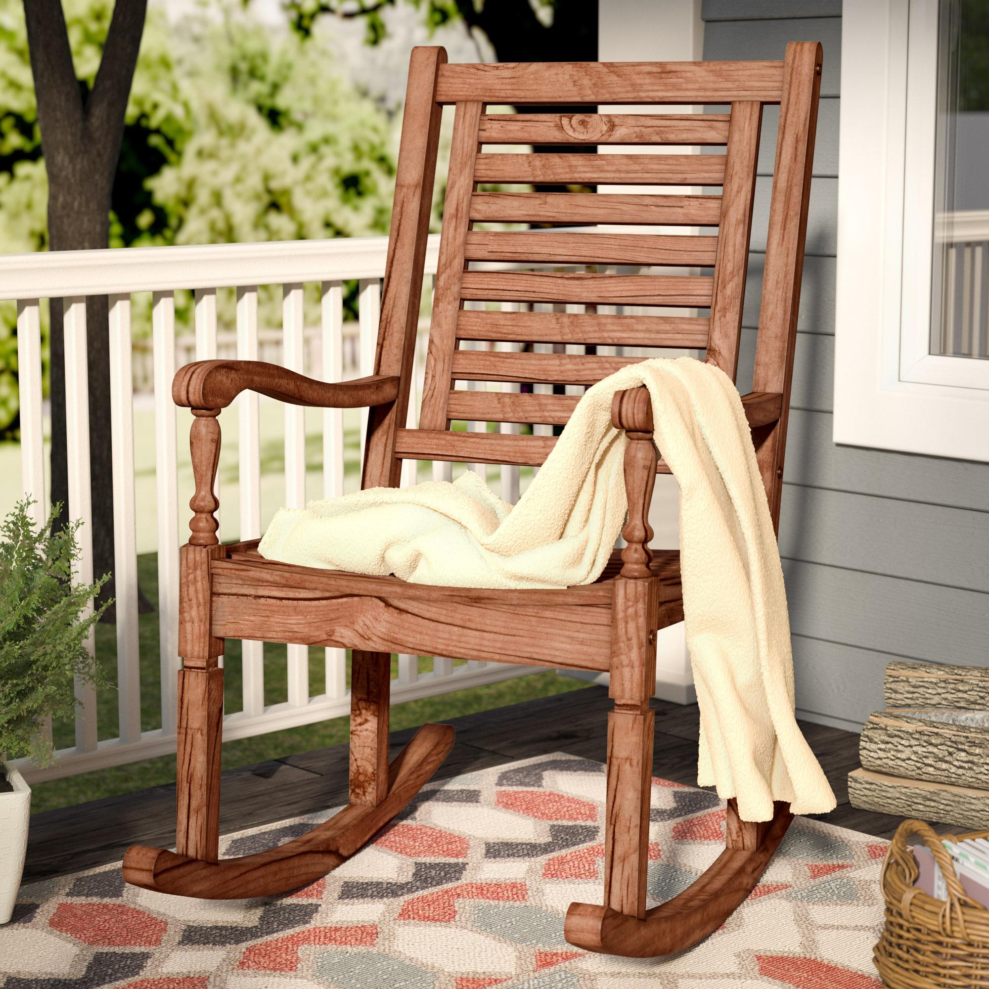 Three Posts Zinnia Solid Acacia Wood Patio Rocking Chair u0026 Reviews | Wayfair