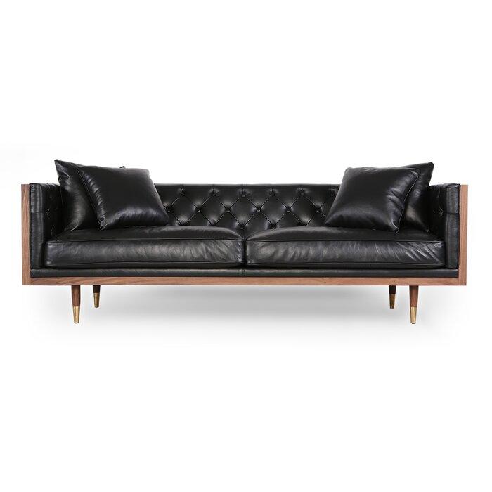 Comm Office Lancaster Standard Clic Midcentury Leather Sofa Wayfair Ca