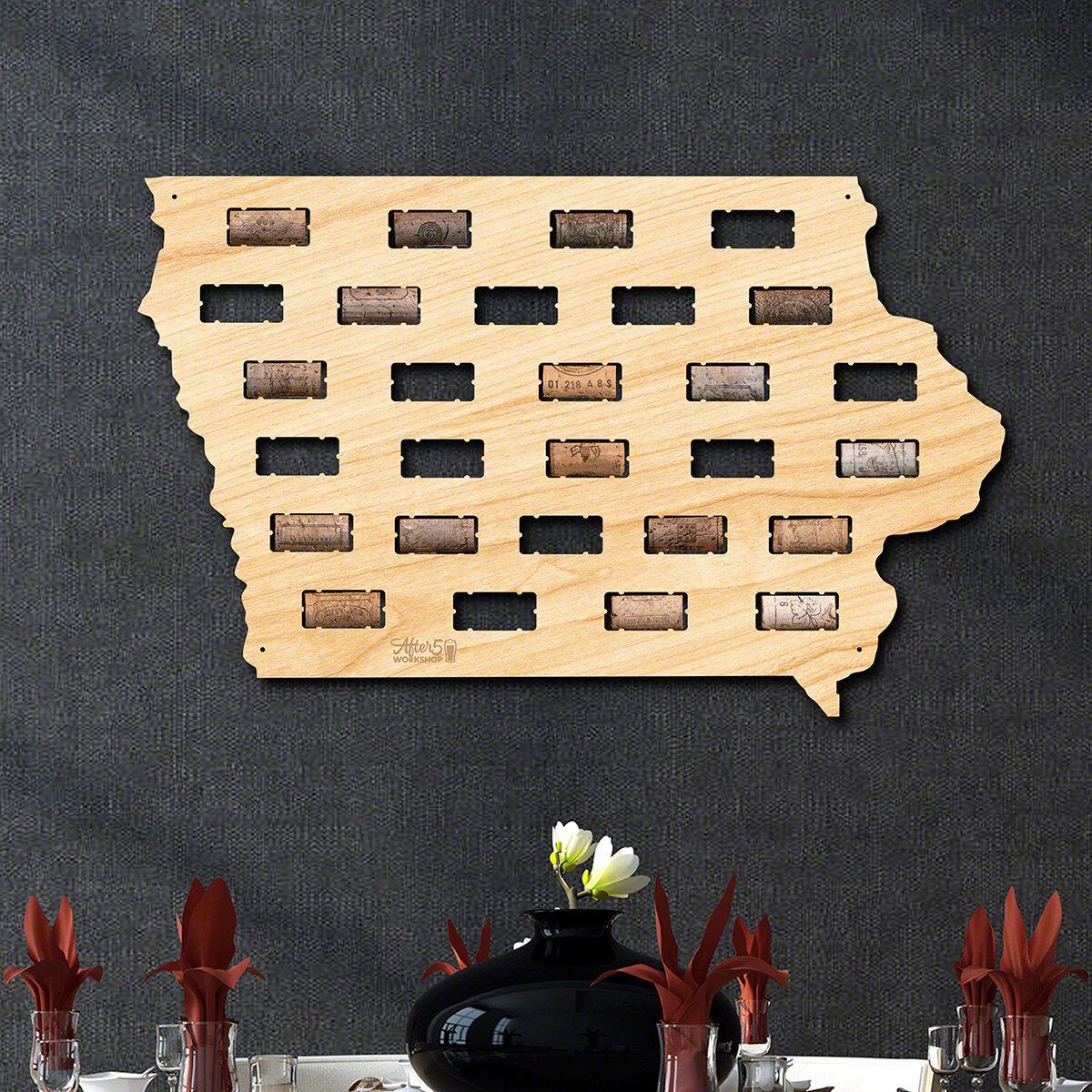 Millwood Pines Iowa Wine Cork Map Wall Décor | Wayfair