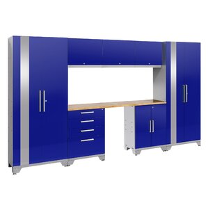 "Performance 2.0 Series 77.25"" H x 132"" W x 18"" D 8 Piece Storage Cabinet Set with Bamboo Worktop"