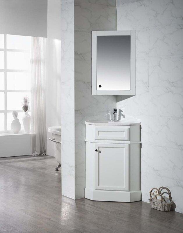 Red Barrel Studio Rocher Single Corner Bathroom Vanity Set - Corner bathroom vanity set for bathroom decor ideas