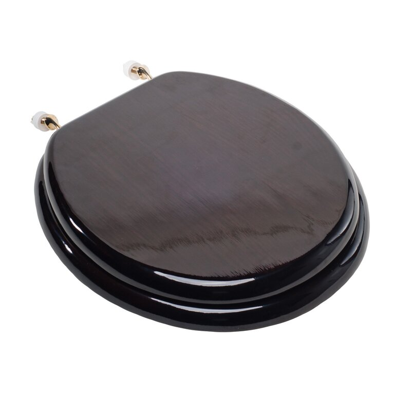 Comfort Seats Designer Solid Round Wood Toilet Seat With Hinges - Black wooden toilet seat