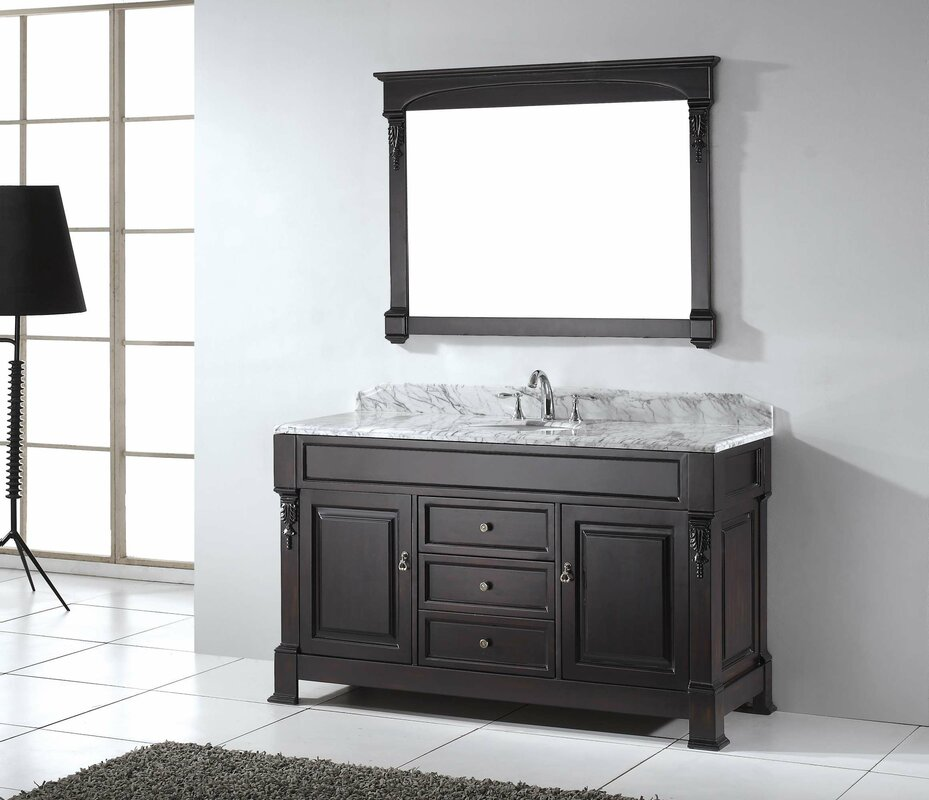 Virtu Usa Huntshire 60 Single Bathroom Vanity Set With White Marble Top And Mirror Reviews