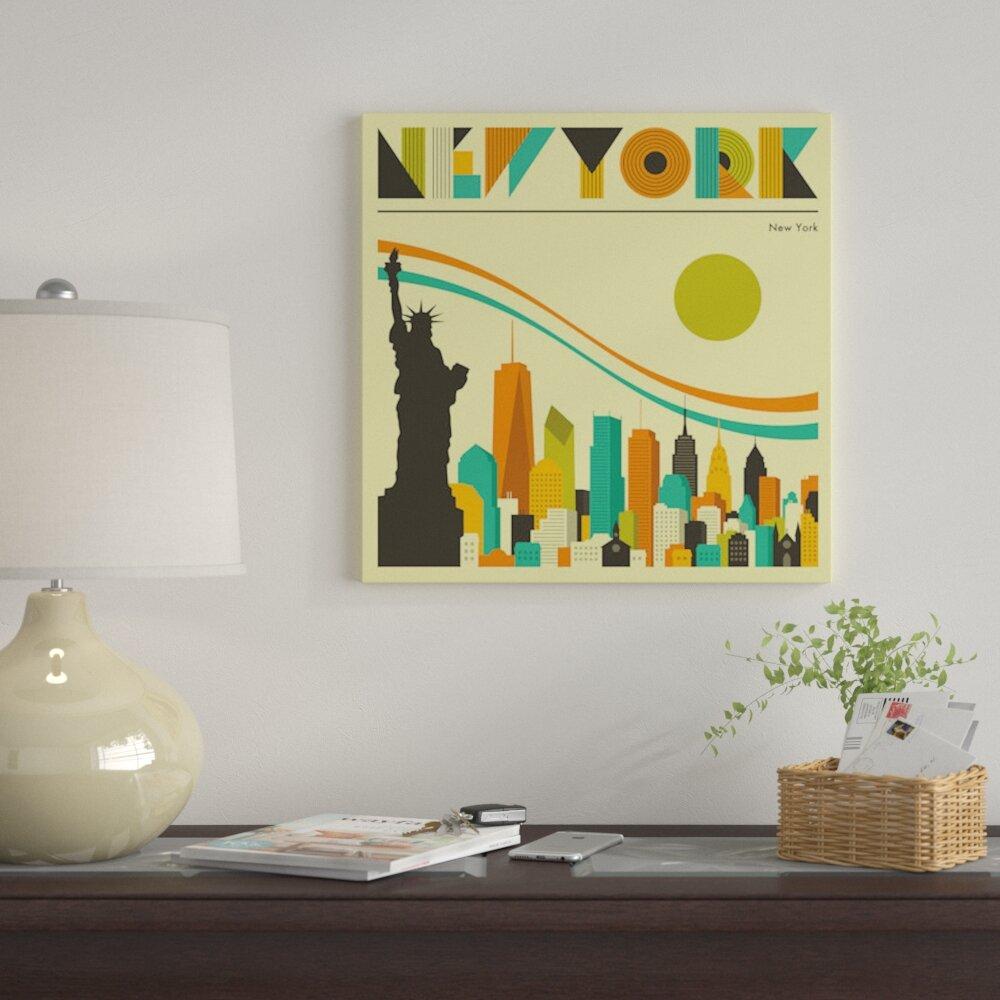 East Urban Home \'New York Skyline\' Graphic Art Print on Canvas | Wayfair
