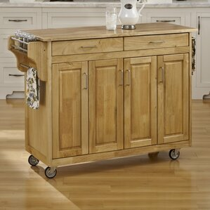 Regiene Kitchen Island with Natural Wo..