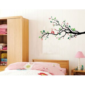 Tree Branches With Leaves And Love Birds Wall Decal Part 67