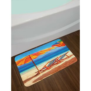 Seaside Deck Chairs Overlooking Tropical Sea Of Thailand Beach Exotic  Holiday Picture Non Slip Plush Bath Rug