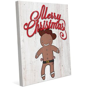 'Gingerbread Cowboy - Wood' Graphic Art on Wrapped Canvas