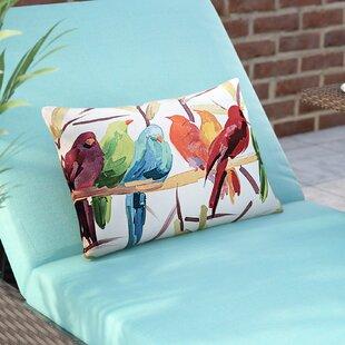 Thornaby Flocked Together Birds Indoor Outdoor Lumbar Pillow