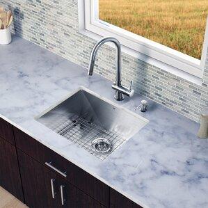 VIGO 23 inch Undermount Single Bowl 16 Gauge Stainless Steel Kitchen Sink with Gramercy Stainless Steel Faucet, Grid, Stra...