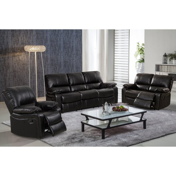 Living In Style Layla 3 Piece Leather Living Room Set & Reviews ...
