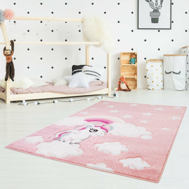 Carpet City Unicorn Stars Pink Rug & Reviews | Wayfair.co.uk