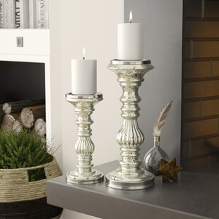 519fbb3a40ee9 2 Piece Glass and Metal Candlestick Set