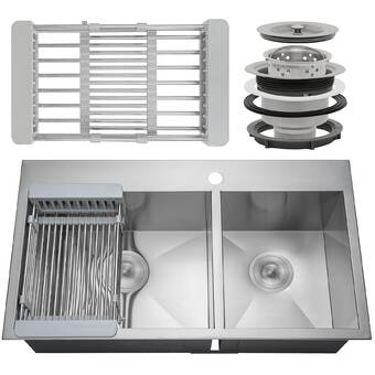 Akdy 33 X 22 Double Basin Drop In Kitchen Sink With Basket